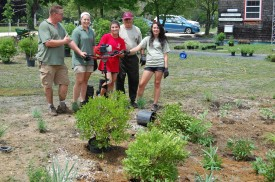 Reserve staff dig in native plants by the Carriage House as part of the facility renovation